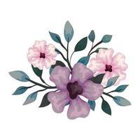 Flores de color rosa y lila con ramas y hojas, sobre fondo blanco. vector
