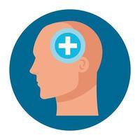 Silueta de perfil humano de cabeza con símbolo de cruz, mente positiva, sobre fondo blanco.
