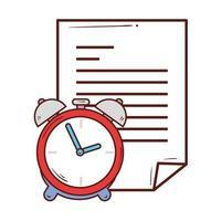 Documento en papel con reloj despertador sobre fondo blanco. vector
