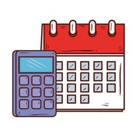 Calculadora matemática con recordatorio de calendario, sobre fondo blanco.