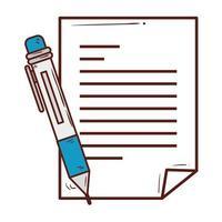 Documento en papel con suministro de bolígrafo, sobre fondo blanco. vector