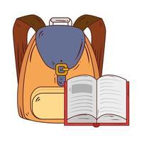 Literatura de libro abierto con mochila escolar en fondo blanco. vector