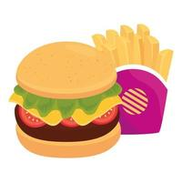 hamburger with potatoes french fries, on white background