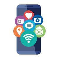Iconos de redes sociales en el dispositivo smartphone, sobre fondo blanco.