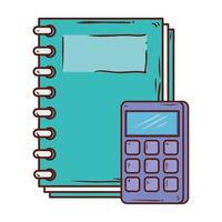 calculator math with notebook supply school on white background vector