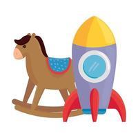 child toys, rocket with wooden rocking horse on white background