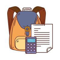 Calculadora con documento en papel y mochila escolar en fondo blanco.