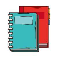 Escuela de suministro portátil con planificador diario sobre fondo blanco. vector