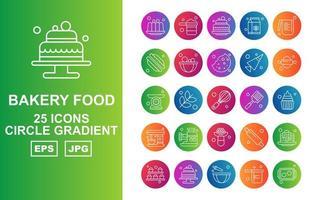 25 Premium Bakery Food Circle Gradient Icon Pack vector
