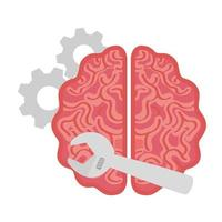 fix the brain, brain with tools, on white background