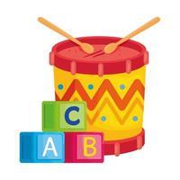 Juguetes para niños, cubos del alfabeto con tambor en fondo blanco. vector