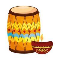 tambor dhol tradicional indio, con luz de velas