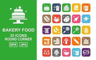 25 paquete de iconos de esquina redonda de comida de panadería premium vector