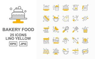 25 Premium Bakery Food Lino Yellow Icon Pack vector