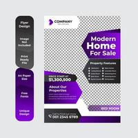 Home Sale Real Estate Business Flyer Template Design with Violet and Black Business Flyer Layout