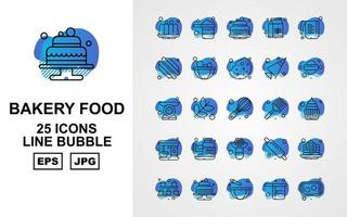25 Premium Bakery Food Line Bubble Icon Pack vector