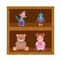 wooden shelving and toys child vector