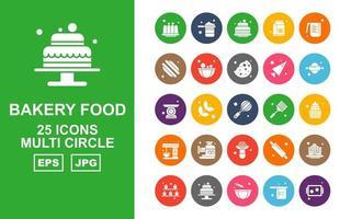 25 Premium Bakery Food Multi Circle Icon Pack vector