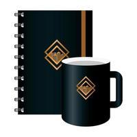 maqueta de cuaderno y taza negra, con letrero dorado, identidad corporativa vector
