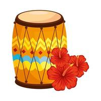 drum dhol indian traditional, with hibiscus flowers vector