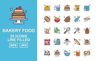 25 paquetes de iconos llenos de línea de comida de panadería premium vector