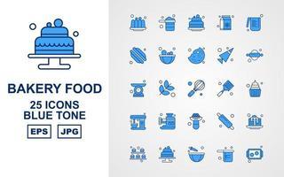 25 paquete de iconos de tono azul de comida de panadería premium vector