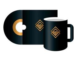 mockup compact disc and mug black color with golden sign, corporate identity vector