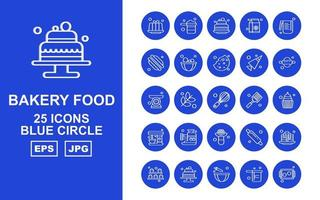 25 Premium Bakery Food Blue Circle Icon Pack vector