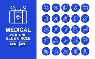25 Premium Medical Blue Circle Icon Pack vector