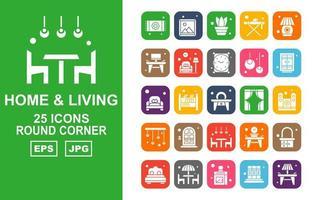 25 Premium Home And Living Round Corner Icon Pack