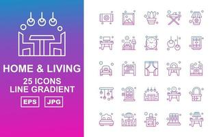 25 Premium Home And Living Line Gradient Icon Pack vector