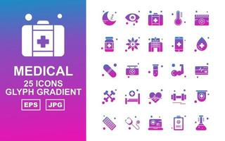 25 Premium Medical Glyph Gradient Icon Pack vector
