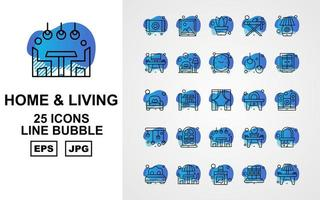 25 Premium Home And Living Line Bubble Icon Pack vector