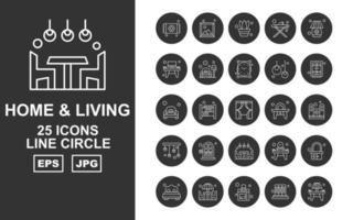 25 Premium Home And Living Line Circle Icon Pack vector