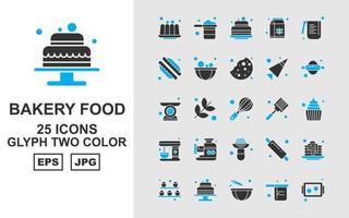 Paquete de iconos de dos colores de glifos de comida de panadería premium vector
