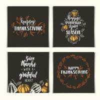 Autumn set of invitation cards with lettering calligraphy phrase -Happy Pumpkin Spice Season, Thanksgiving day, Give thanks with a grateful heart. Hand made motivation quote. vector