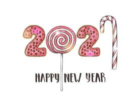 Vector Hand drawn colorful glazed pink donuts-figures and lollipops isolated on white. Happy New Year 2021 and Merry Christmas.