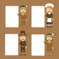 Thanksgiving Banner with Pilgrims, and Indigenous People vector