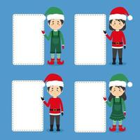 Christmas Characters with Blank Board vector