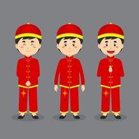 personaje asiático masculino con varias expresiones vector