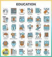 educación y aprendizaje iconos de contorno perfecto de píxeles vector