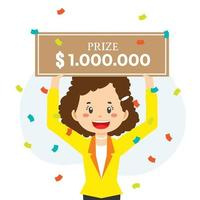 Lucky Girl win Money Prize vector
