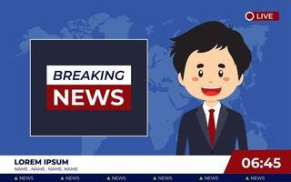 TV News Studio with Broadcaster Breaking News vector