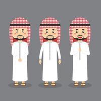 personaje árabe con varias expresiones. vector