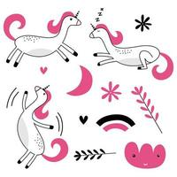 Set of colored funny animals with sleeping moon, cloud, star and unicorn dreams in scandinavian style. vector