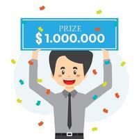 Lucky Man win Money Prize vector