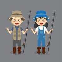 pareja vistiendo trajes de pescador vector