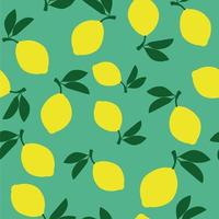Seamless pattern with lemon fruits on green background. vector