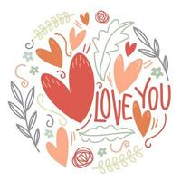 Love You Happy Valentine's Day  Cute Illustration vector