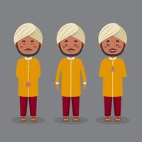 personaje indio con varias expresiones. vector